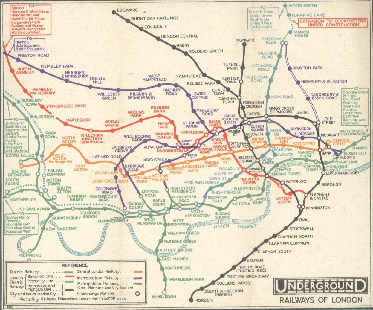 Mapa antiguo del metro de Londres